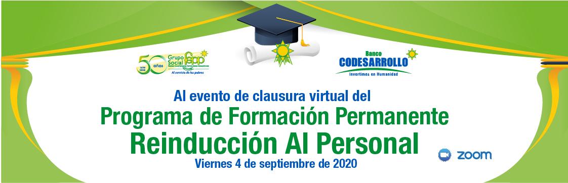 Al evento de clausura virtual del Programa de Formación Permanente Reinducción Al Personal del GSFEPP